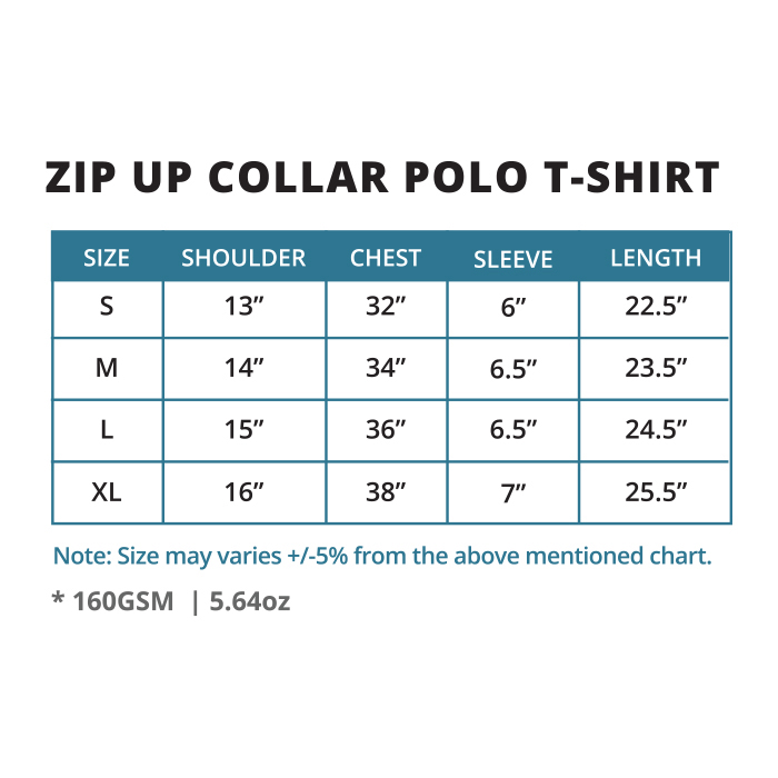 Oriental Zip Up Collar Polo T-Shirt (Female)